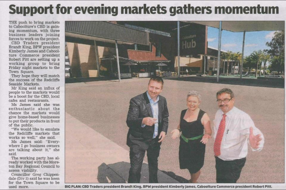 BPW Working with Commerce Caboolture and CBD Traders to bring some life into the town square.